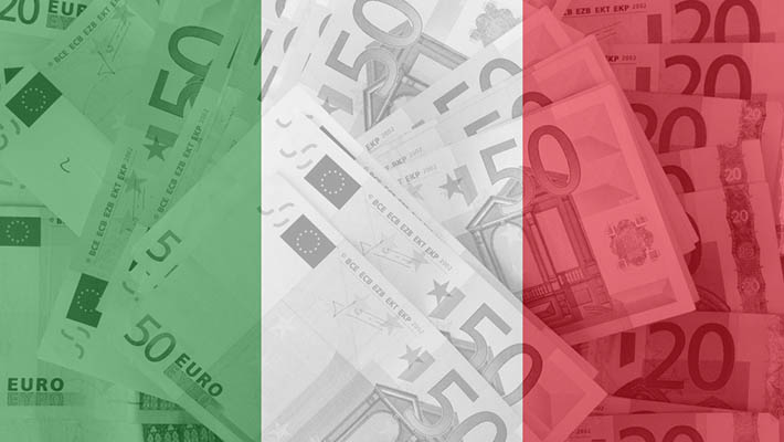 flag of Italy with transparen t euro banknotes in background
