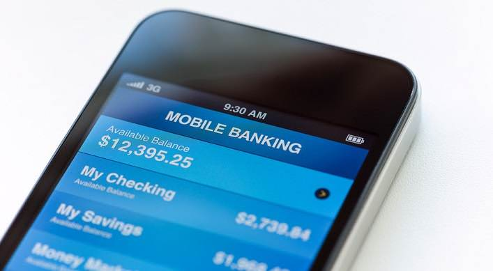 Mobile banking on mobile smartphone